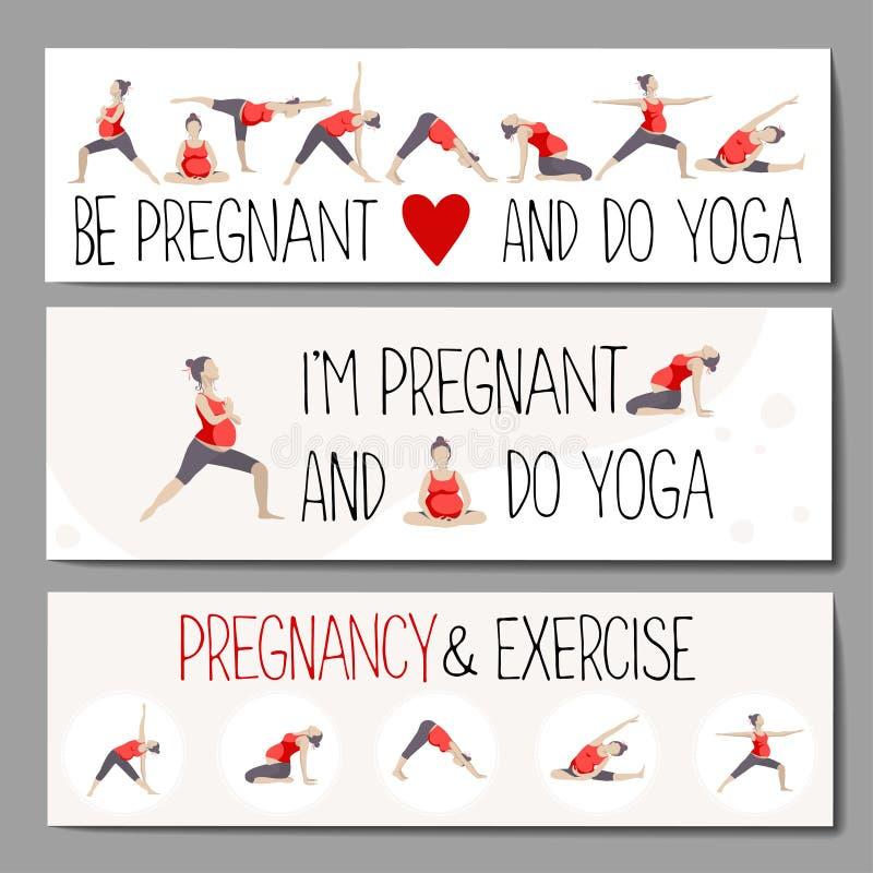 给的怀孕的瑜伽做广告横幅 皇族释放例证