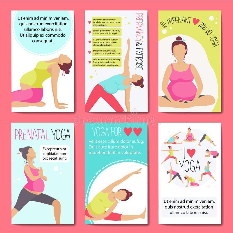 给的怀孕的瑜伽做广告横幅 库存例证