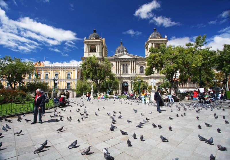 的拉巴斯,玻利维亚广场Murillo 库存图片