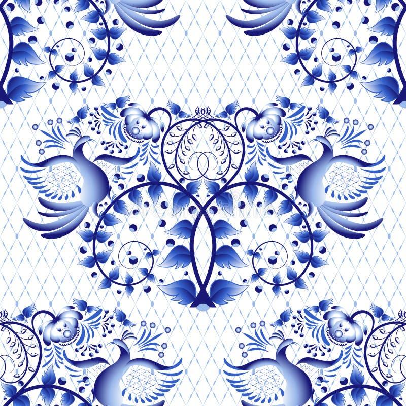 绘画的无缝的样式模仿在瓷的在俄国样式Gzhel或国画 与鸟的轻的背景 库存例证