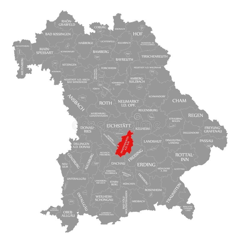 的普法芬霍芬 d 伊尔姆河县红色在巴伐利亚德国的地图突出了 库存例证