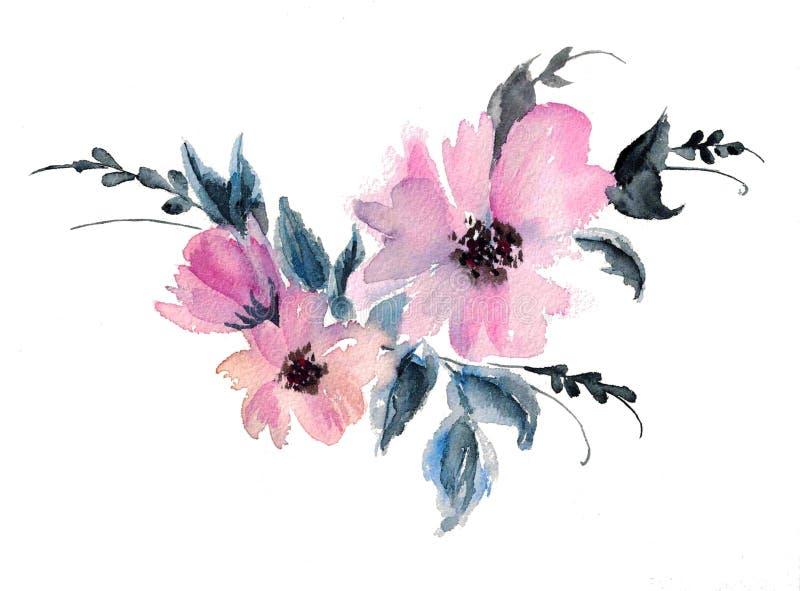 画的桃红色冬葵花水彩例证 库存例证