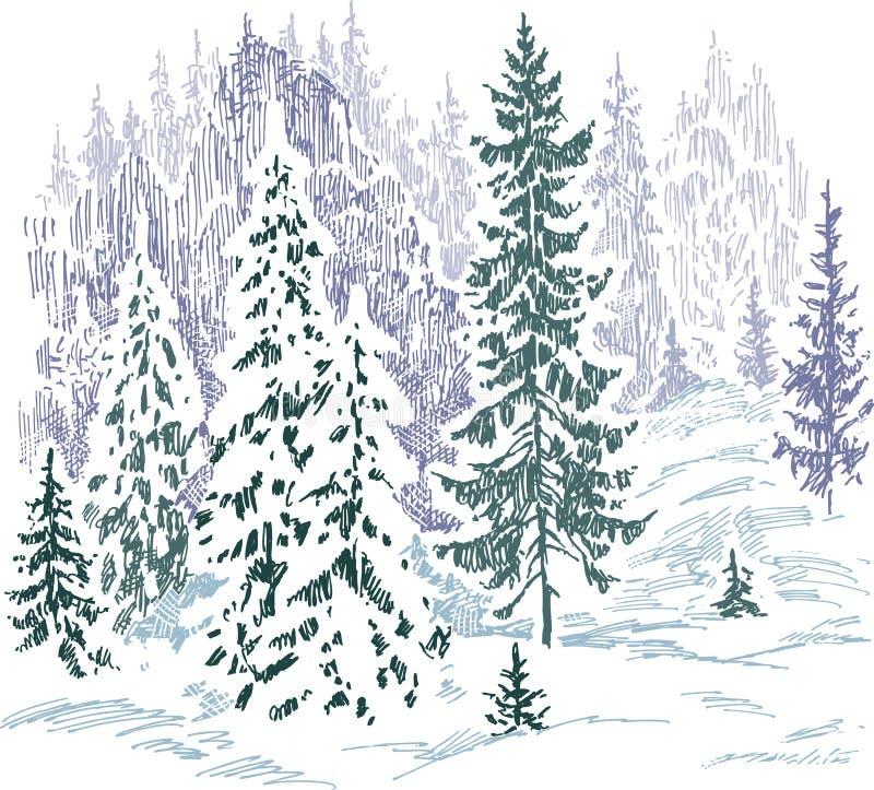 冻结的森林 库存例证