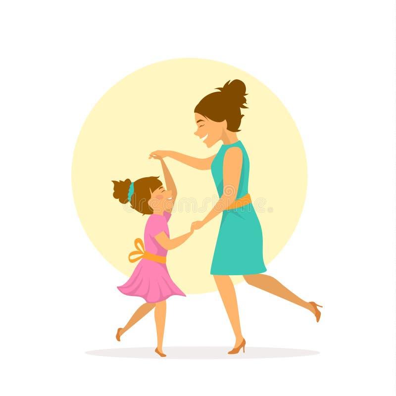 的母亲和女儿、的妇女和获得她的儿童的跳舞乐趣一起,母亲节 库存例证