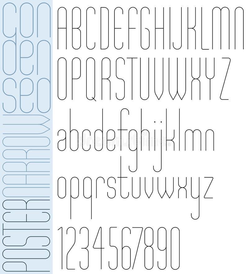 黑的海报减肥浓缩的狭窄的字体 向量例证