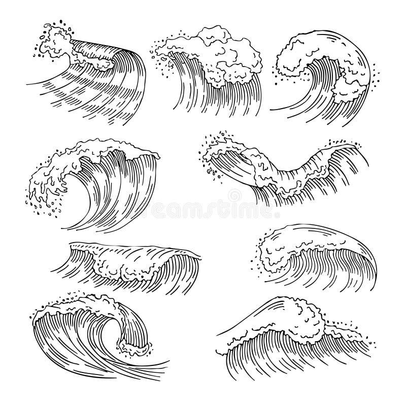 水的海洋例证飞溅和大波浪 传染媒介手拉的图片 向量例证
