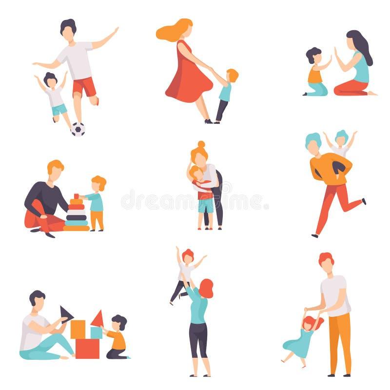 的父母和安排他们的孩子好时间一起被设置,使用的妈妈和的爸爸,做体育,获得与他们的孩子的乐趣 向量例证