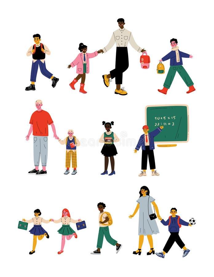 的父母和走他们的孩子教育在早晨、逗人喜爱的学生学习在学校传染媒介的男孩和女孩 向量例证