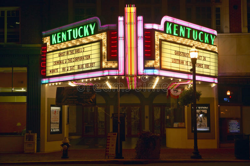 说的电影院的列克星敦肯塔基霓虹大门罩标志肯塔基 库存照片