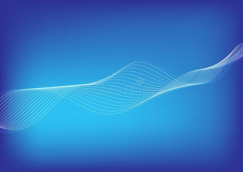 轻的白色混和的线流动在梯度蓝色背景的波浪 皇族释放例证