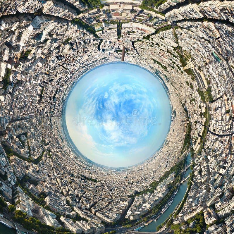 巴黎的立体画法全景投射 法国 夏天在欧洲 360全景 图库摄影