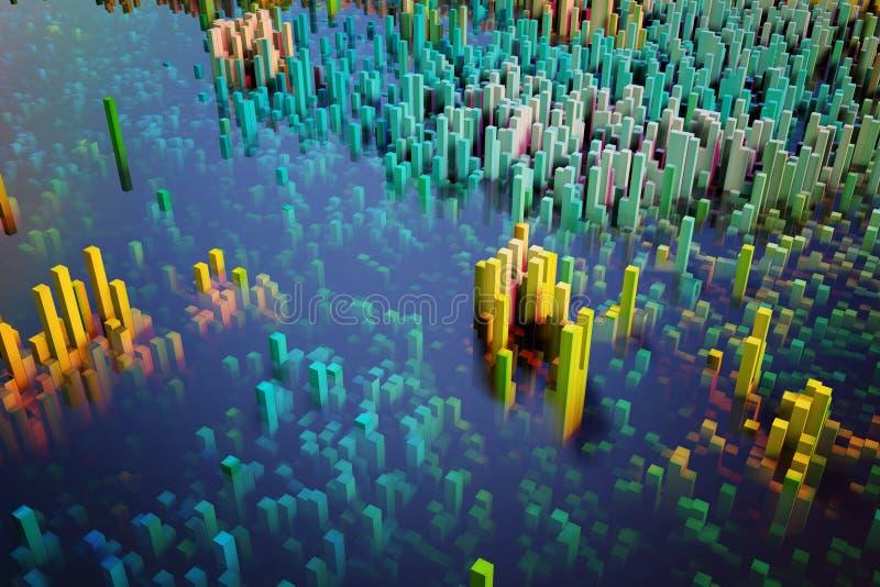 的立方体专栏的五颜六色的领域组成抽象个体 库存例证