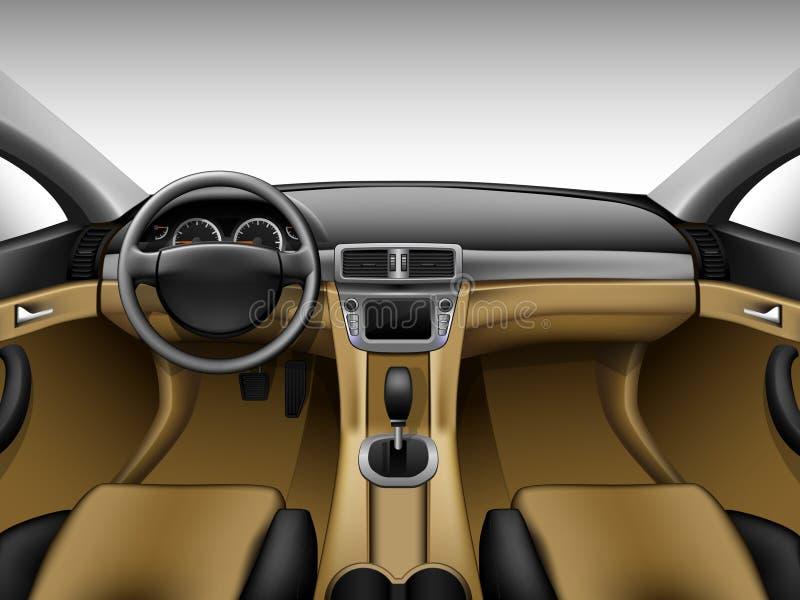 轻的米黄皮革汽车内部 向量例证
