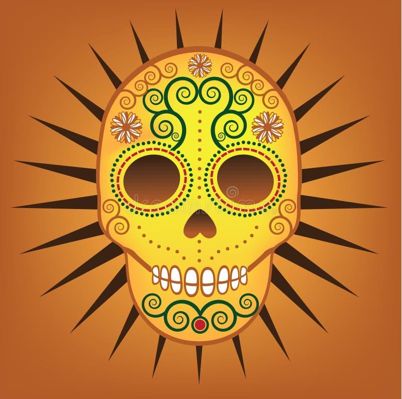 死的糖头骨的墨西哥天 向量例证