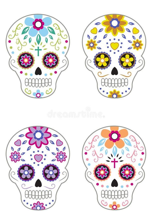 死的糖头骨2的墨西哥天 向量例证