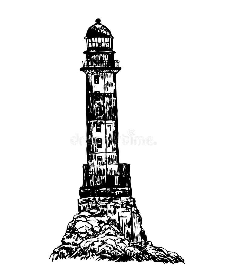 画的老石头镶边了被放弃的灯塔剪影例证 库存例证
