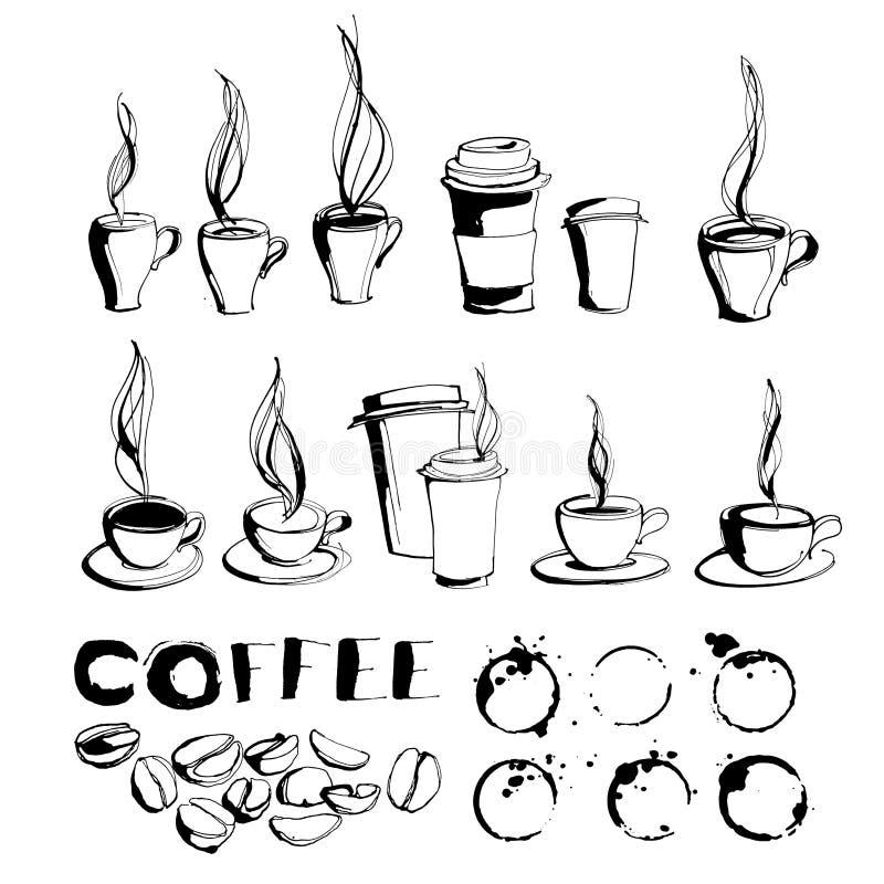 去的脏的手拉的墨水咖啡杯子和杯子有蒸汽的,罗阿 库存例证