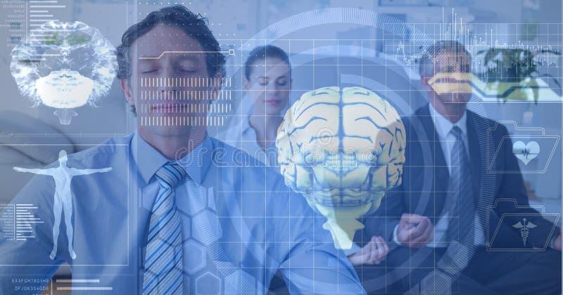 的脑子和思考的商人两次曝光  免版税库存照片