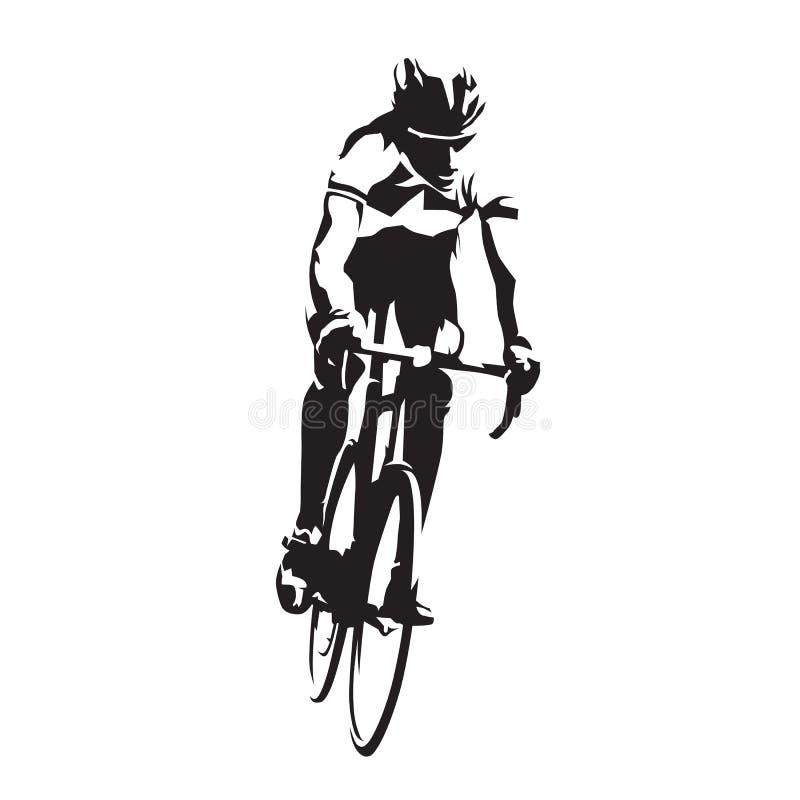 他的自行车的路骑自行车者,传染媒介剪影 向量例证
