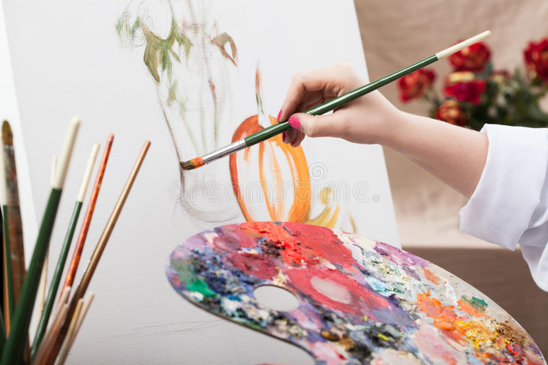 绘画的艺术家 库存图片