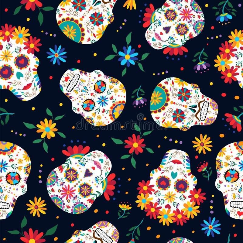 死的花卉头骨样式背景的天 库存例证