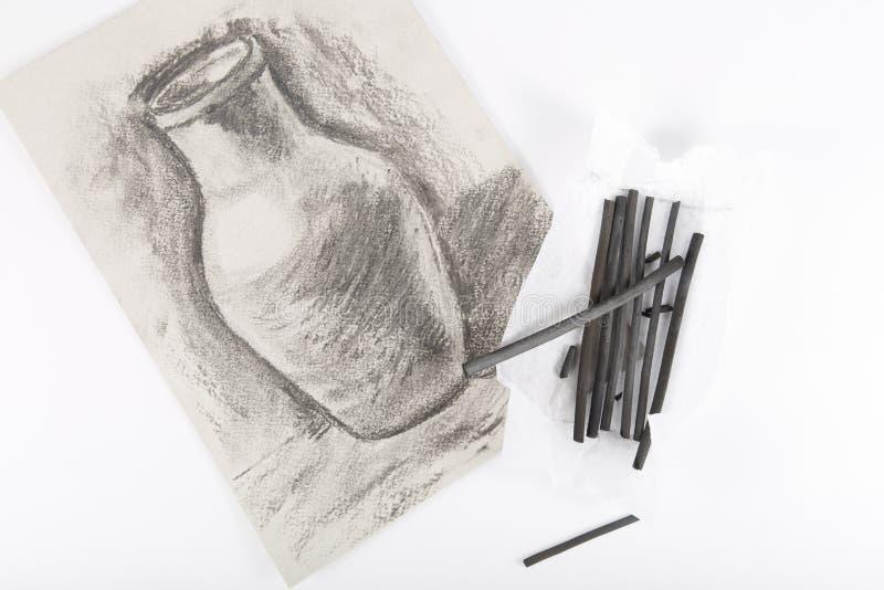 画的被绘的木炭 免版税库存图片