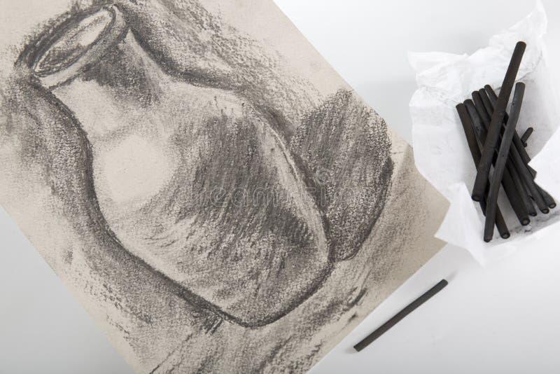 画的被绘的木炭 免版税图库摄影