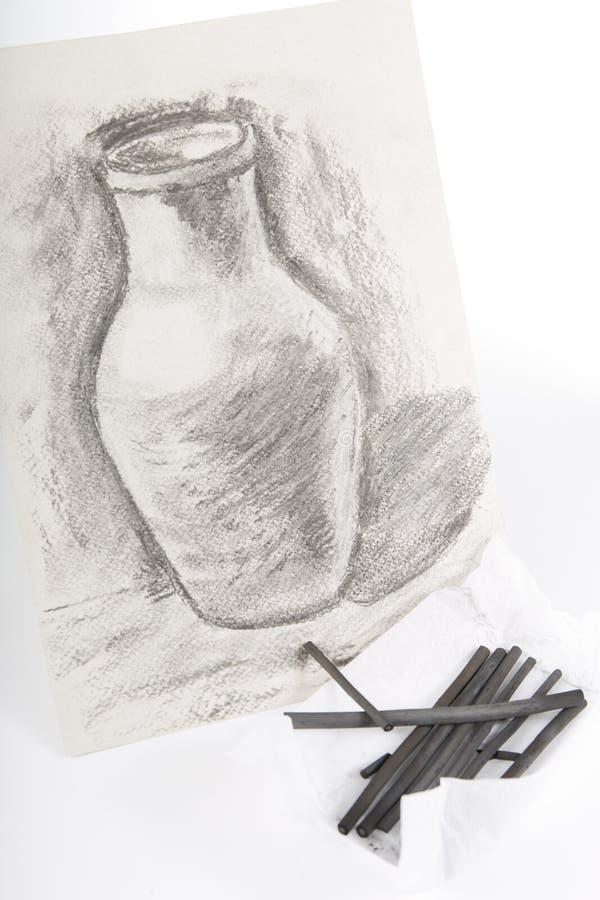 画的被绘的木炭 库存照片