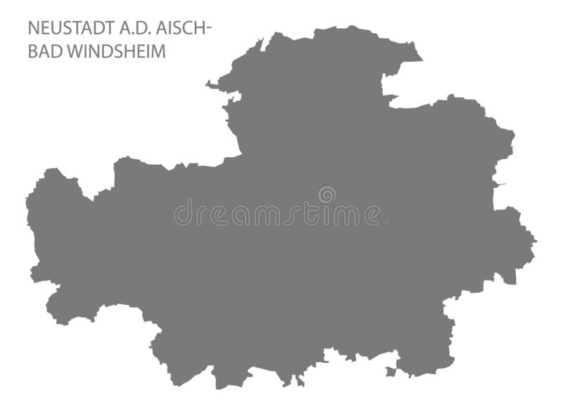 的诺伊斯塔特 d 巴伐利亚德国的Aisch坏Windsheim灰色县地图 向量例证