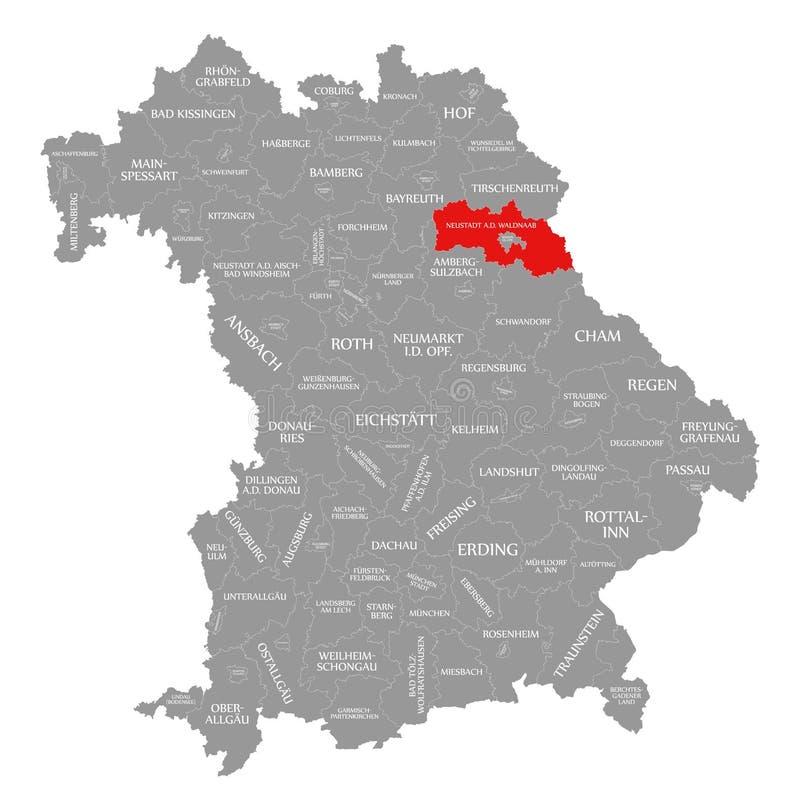 的诺伊斯塔特 d Waldnaab县红色在巴伐利亚德国的地图突出了 皇族释放例证