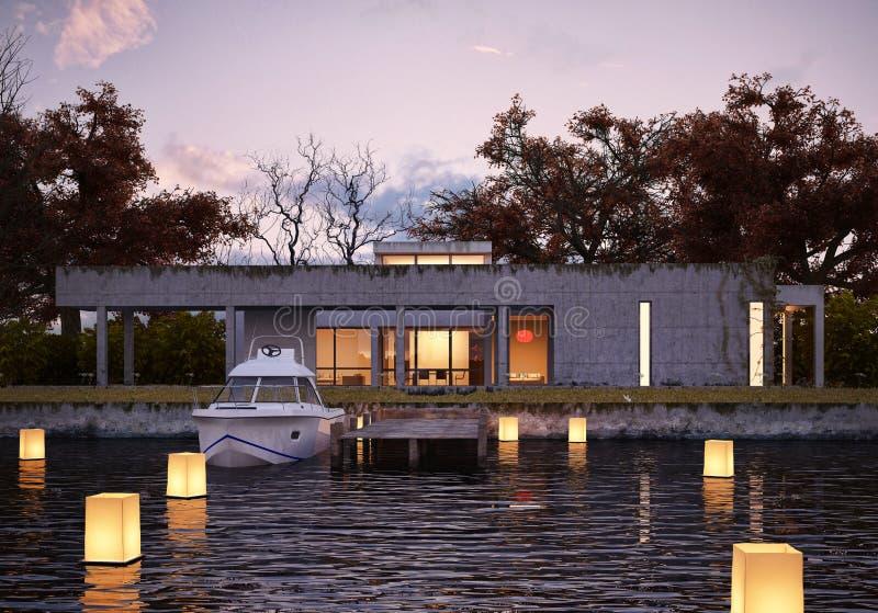 水的豪华现代房子在日落。 免版税图库摄影