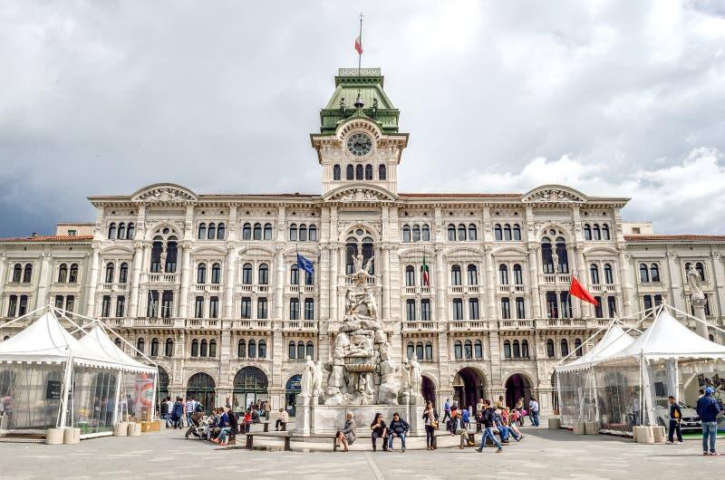 的里雅斯特广场unita市政厅friuli venezia朱莉娅意大利 免版税图库摄影