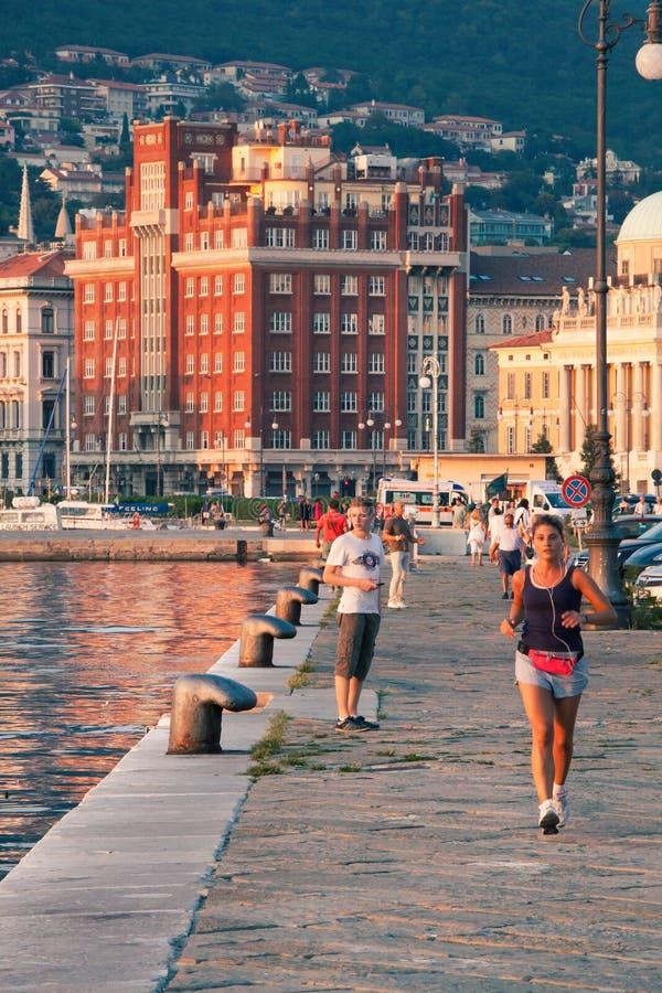 的里雅斯特海口码头在北意大利 免版税库存照片
