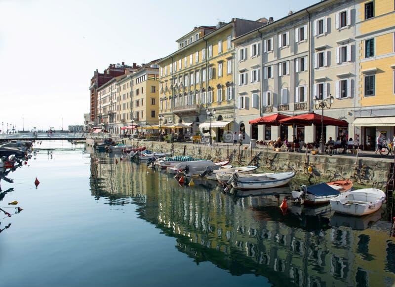 的里雅斯特,意大利- 2014年7月01日:重创运河的看法  免版税库存图片