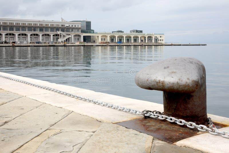 的里雅斯特, 2017年9月5日,意大利:在一个石码头的定住点 库存图片