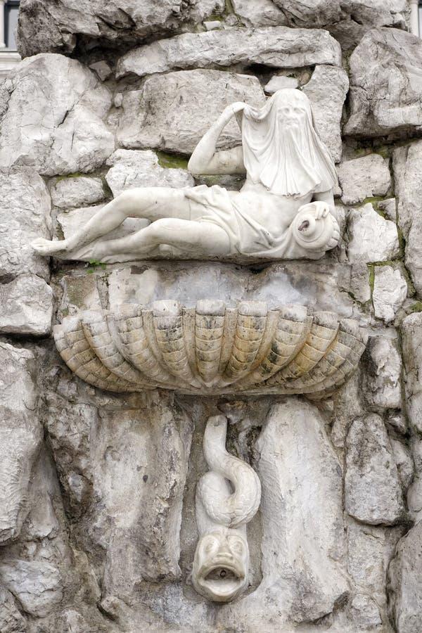 的里雅斯特 四个大陆喷泉的细节 库存照片