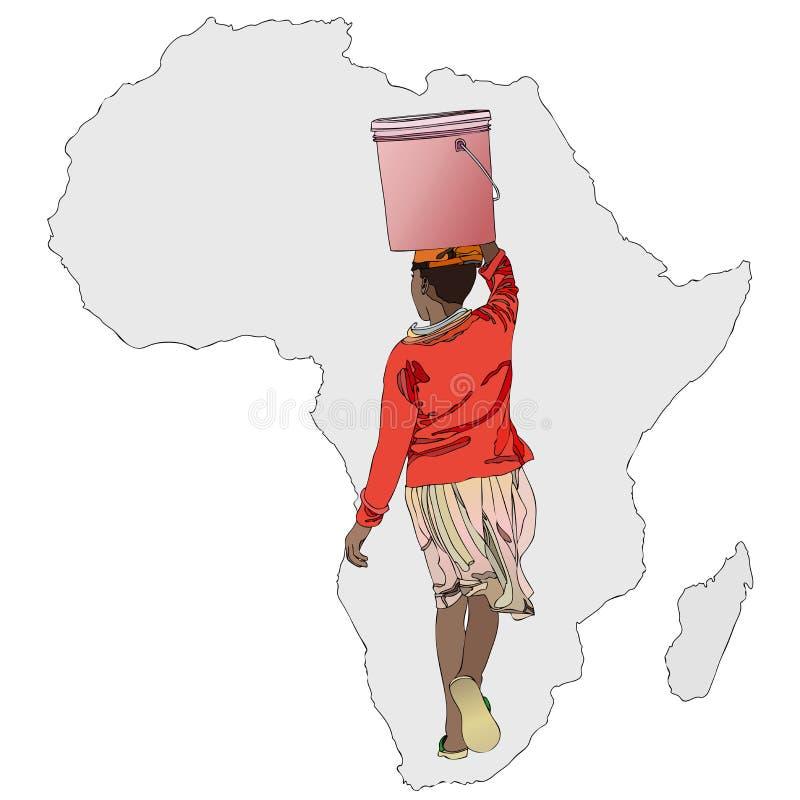 水的重要性在非洲 库存例证