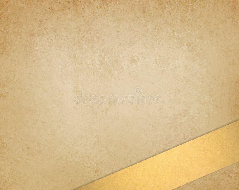 轻的金子棕色或米黄背景资料葡萄酒纹理和金子渔了在底下边界的丝带条纹 免版税库存图片