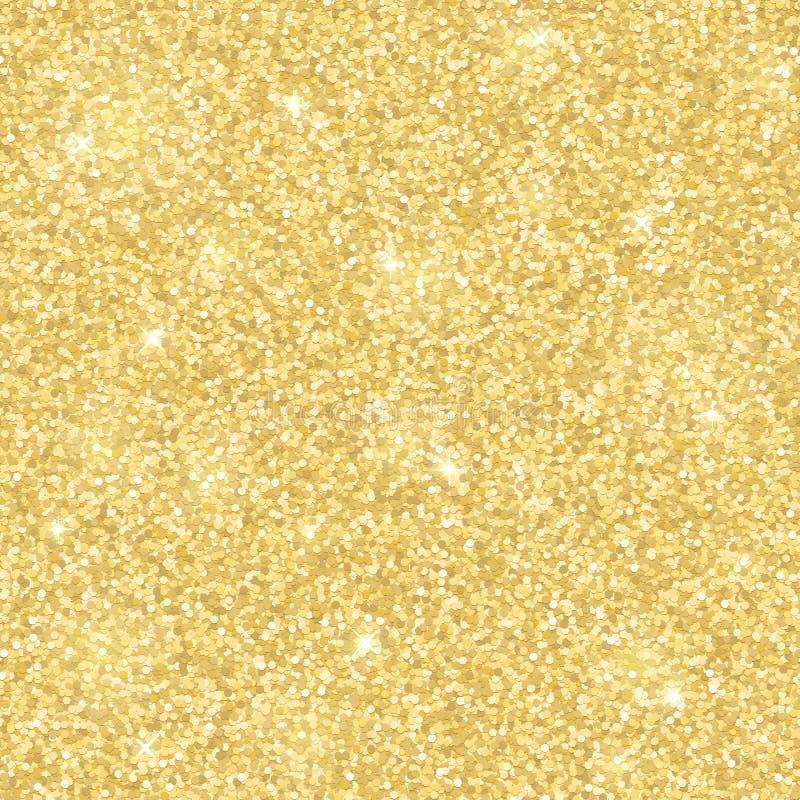 轻的金子闪烁无缝的样式 向量 库存例证