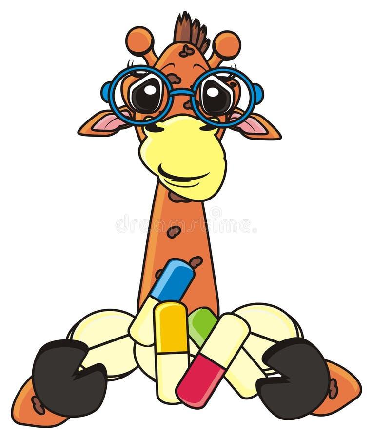 的长颈鹿拿着药片 库存例证