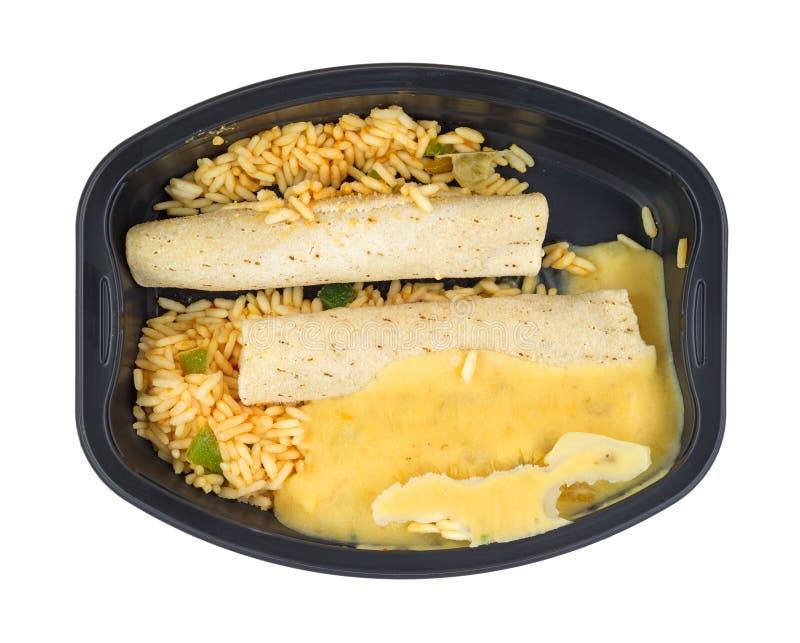 冻结的鸡辣酱玉米饼馅快餐 免版税库存图片