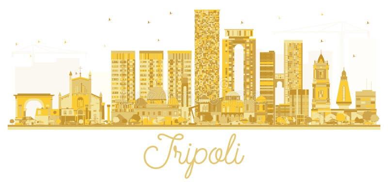 的黎波里利比亚市地平线金黄剪影 皇族释放例证