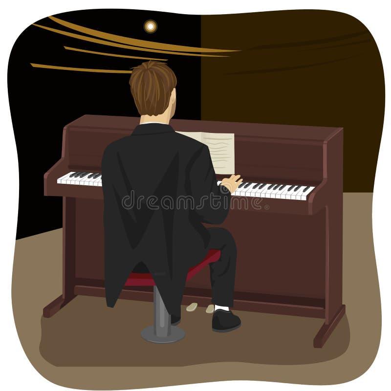 的年轻人弹棕色大钢琴的后面观点 向量例证