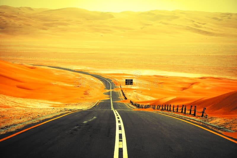 绞的黑柏油路通过Liwa绿洲,阿联酋沙丘  免版税库存照片
