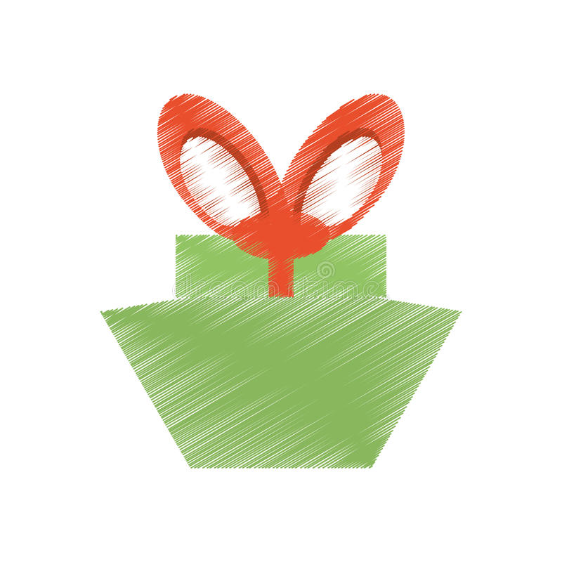 画的绿色礼物盒红色大弓 皇族释放例证