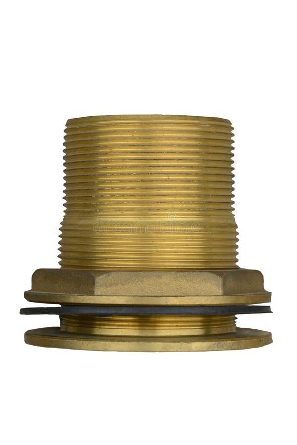 水的黄铜与在白色背景隔绝的橡胶垫圈的配件和气管 免版税图库摄影