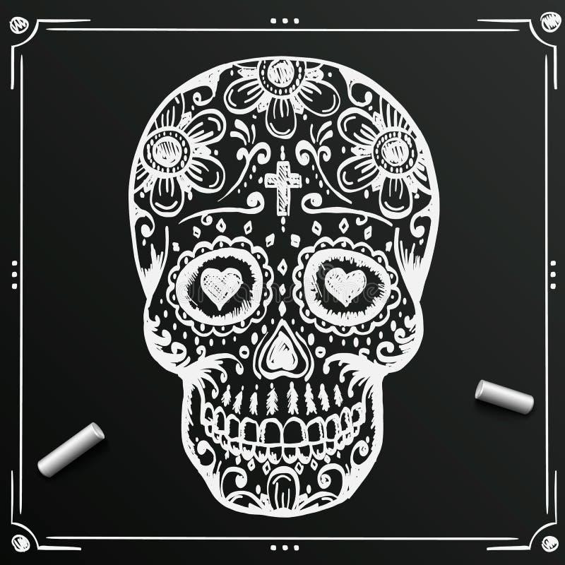 死的头骨剪影的黑板天 凹道糖花 纹身花刺 也corel凹道例证向量 向量例证