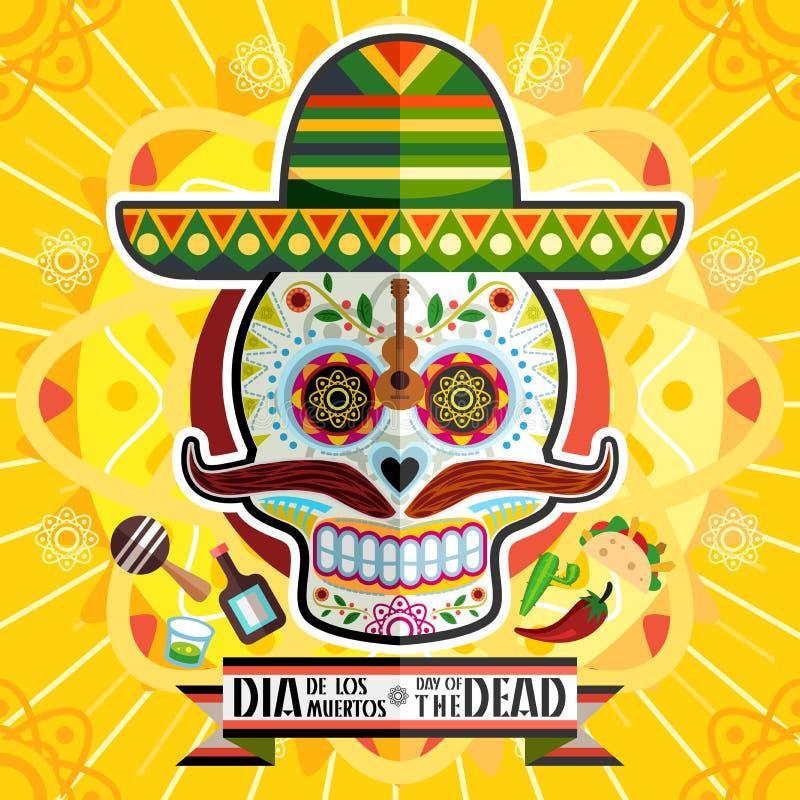 死的头骨的Dia De Los Muertos Day 向量例证