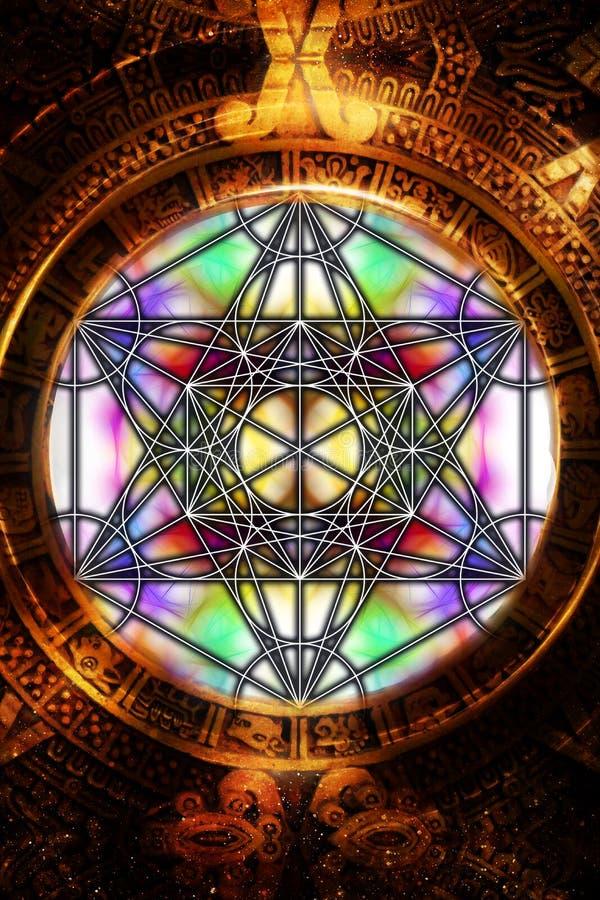 轻的merkaba和古老玛雅日历在抽象背景 神圣的几何 皇族释放例证