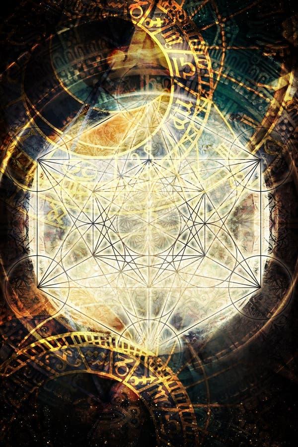轻的merkaba和黄道带在宇宙空间 神圣的几何 库存例证